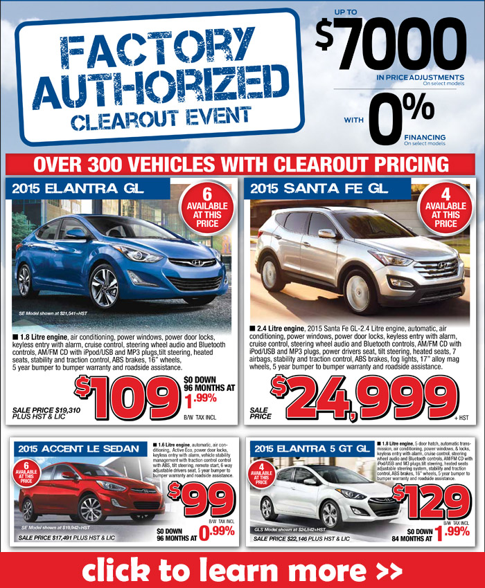Get great deals on new and used Hyundai cars and SUVs during the Hyundai Factory Authorized Clearout Event in London