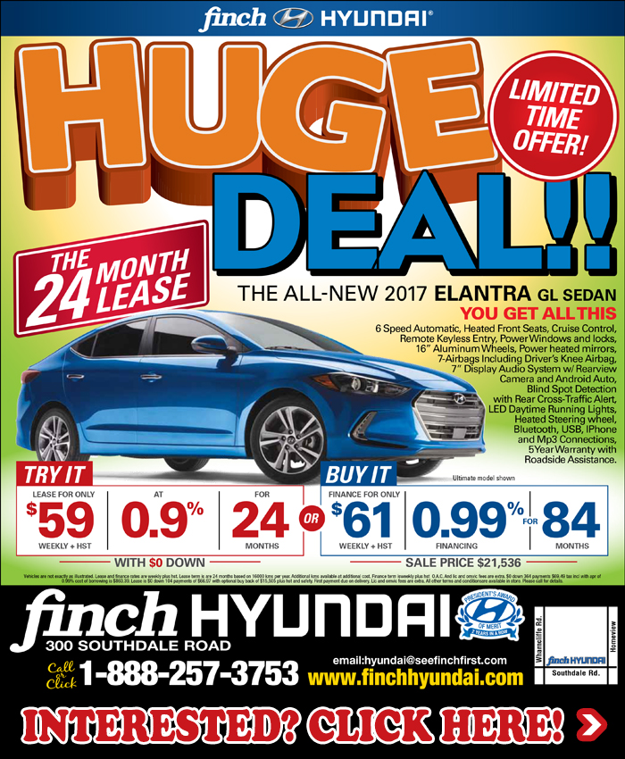 Right now at Finch Hyundai, get a HUGE DEAL on the all new 2017 Hyundai Elantra GL Sedan in London. Try it and lease it for only $59 weekly for 24 months or buy it and finance for only $61 weekly for 84 months!