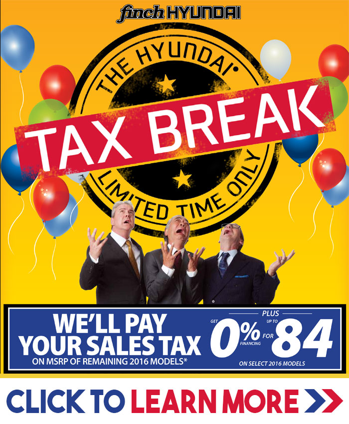 We'll pay your Sales Tax on MSRP of Remaining 2016 models during our Hyundai Tax Break Sales Event in London. Plus get 0% financing for 84 months on select 2016 models.