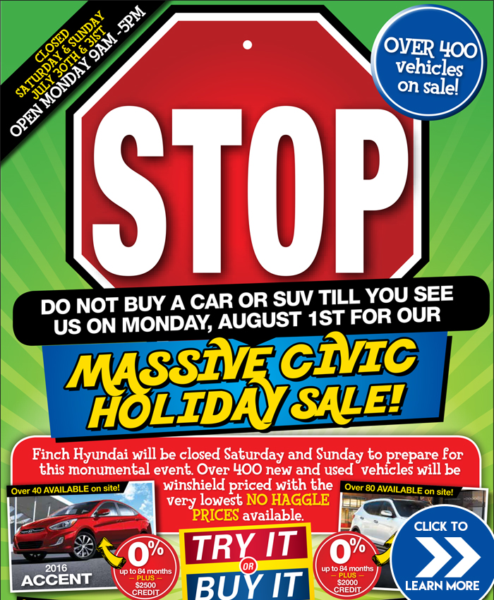Stop! Do NOT buy a car or SUV until you come to see us on Monday, August 1 for our Massive Civic Holiday Sale on brand new Hyundai cars and SUVs in London!