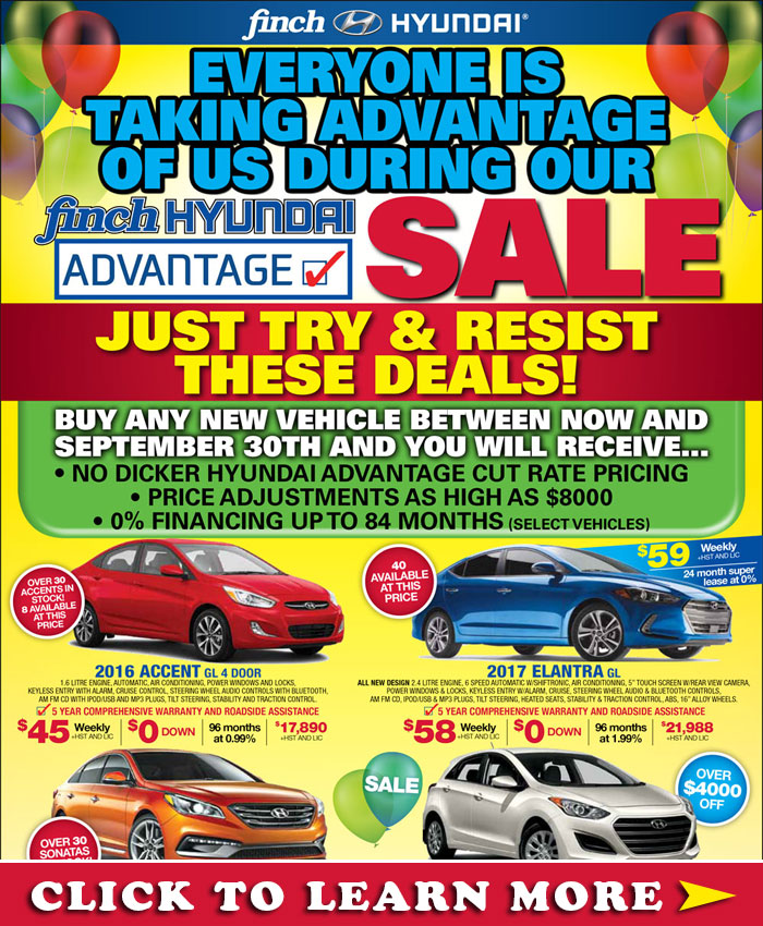 Buy any new Hyundai vehicle in London at the Finch Hyundai Advantage Sale and you will receive cut rate pricing, adjustments up to $8000 and 0% financing up to 84 months.