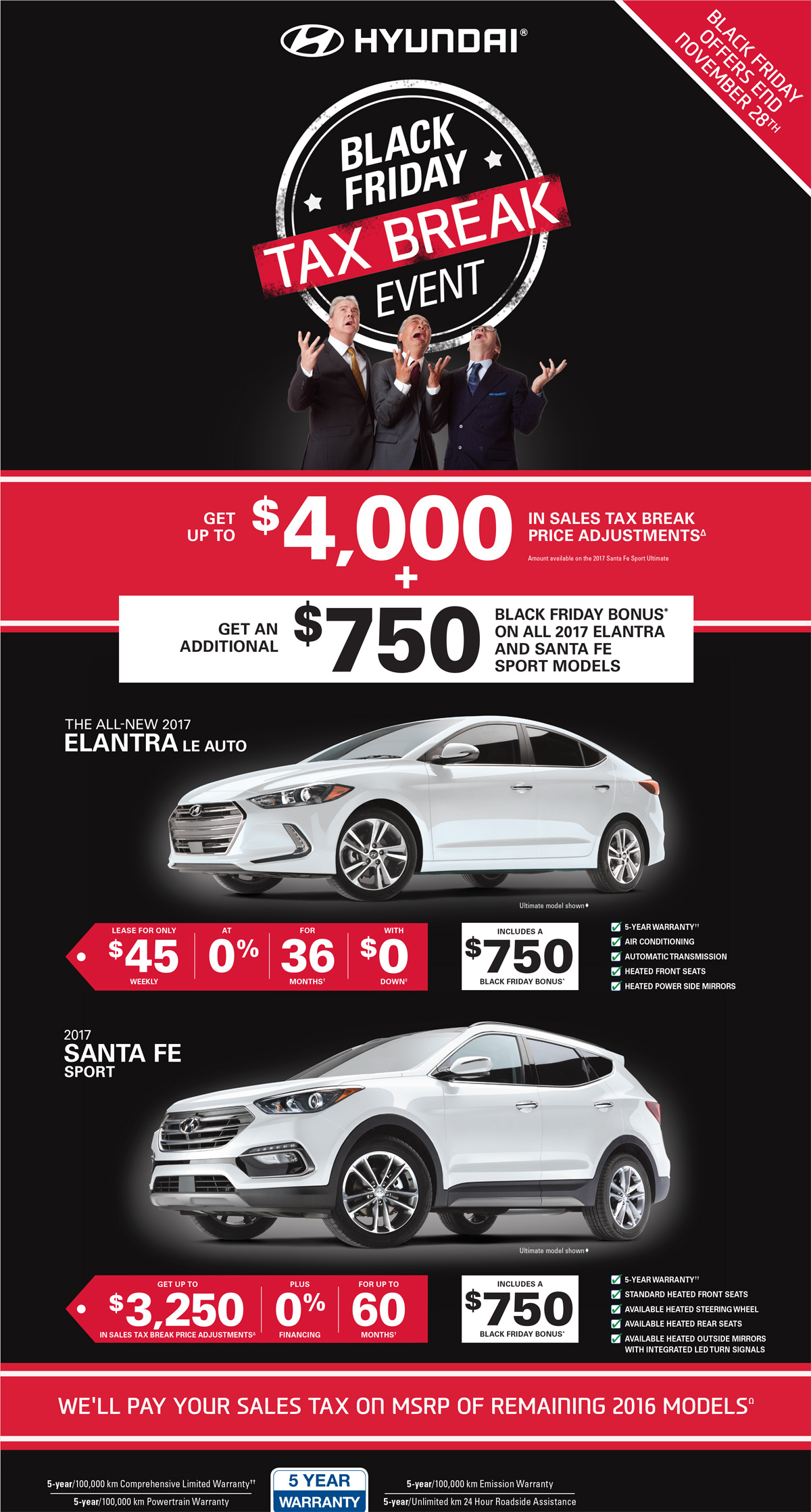 Get Up To 4000 In Price Adjustments And An Addition 750 Bonus On Brand New 2017 Hyundai Cars Suvs London During The Black Friday Tax Break Event