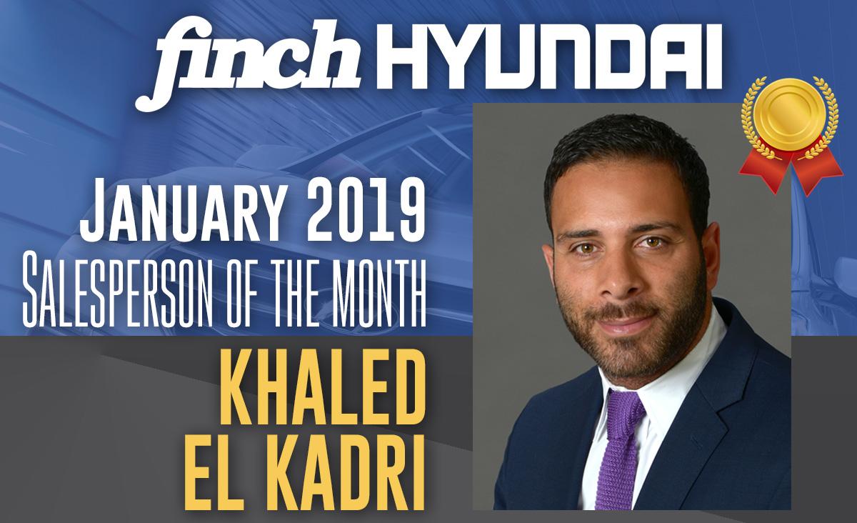 Khaled El Kadri, Salesperson of the Month at Finch Hyundai in December 2018