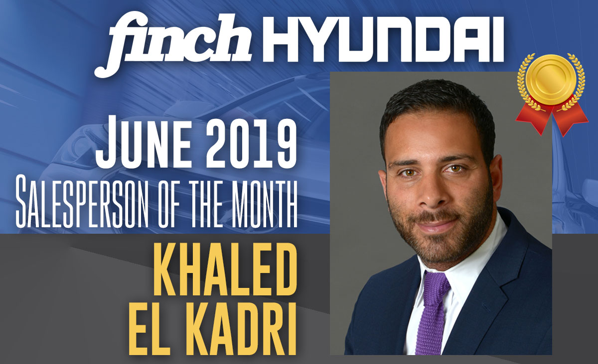 Khaled El Kadri, Salesperson of the Month at Finch Hyundai in April 2019