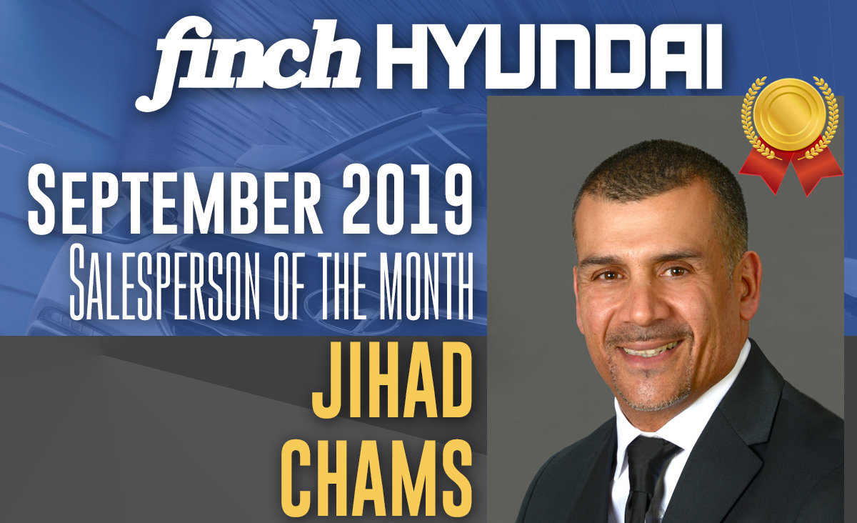 Jihad Chams, Salesperson of the Month at Finch Hyundai in September 2019