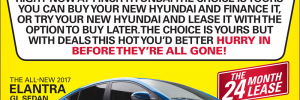 Try is or Buy it, the choice is yours at Finch Hyundai in London. Buy your new Hyundai and finance it or try your new Hyundai and lease it to buy later! Learn more.