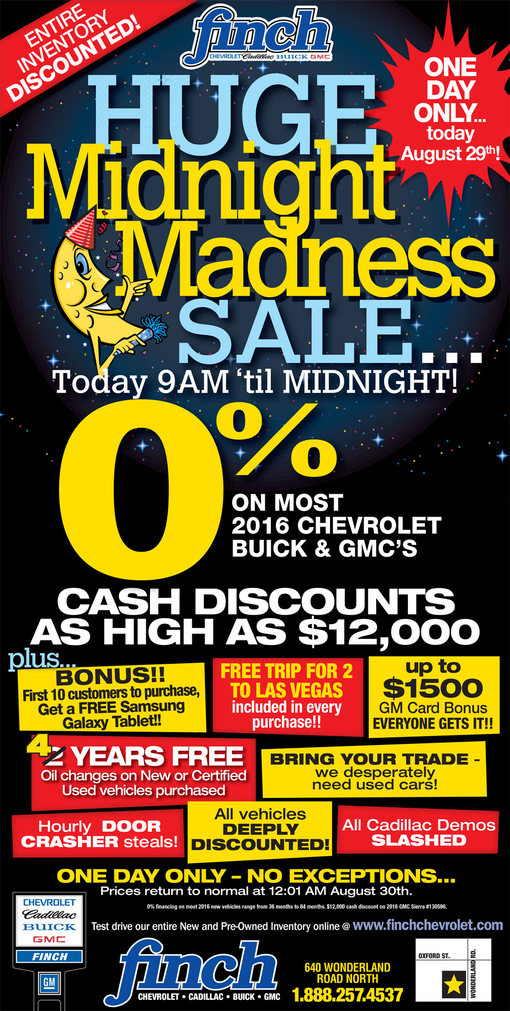 Enjoy the Midnight Madness Blowout in London Ontario at Finch Chevrolet Cadillac Buick GMC
