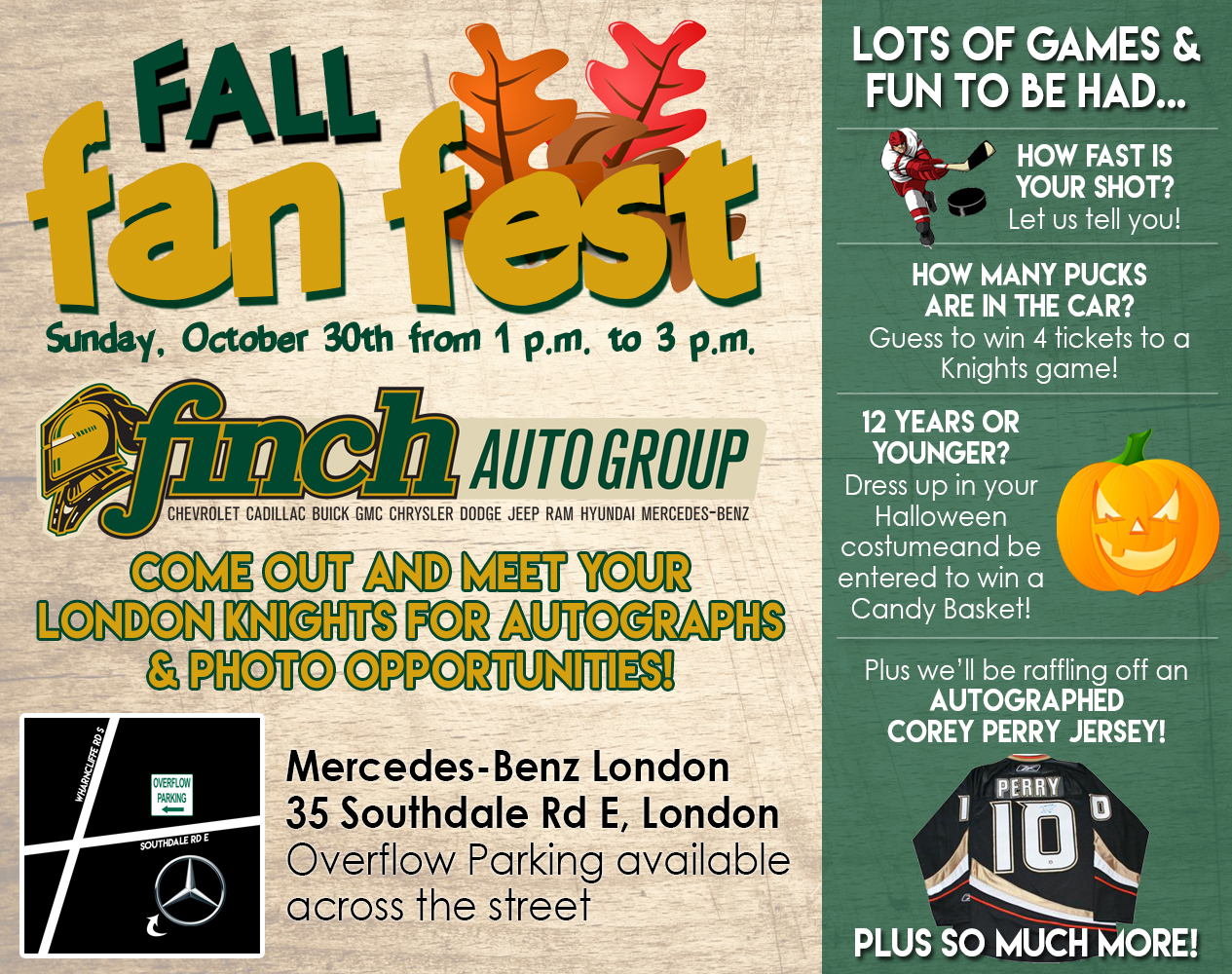 Party with Finchy at the Finch Auto Group Fall Fan Fest and meet your favourite London Knights players on October 30th from 1pm to 3pm