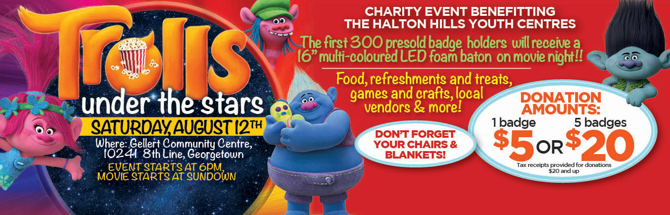 Come watch Trolls under the stars with Georgetown Chevrolet in support of Halton Hills Youth Centres