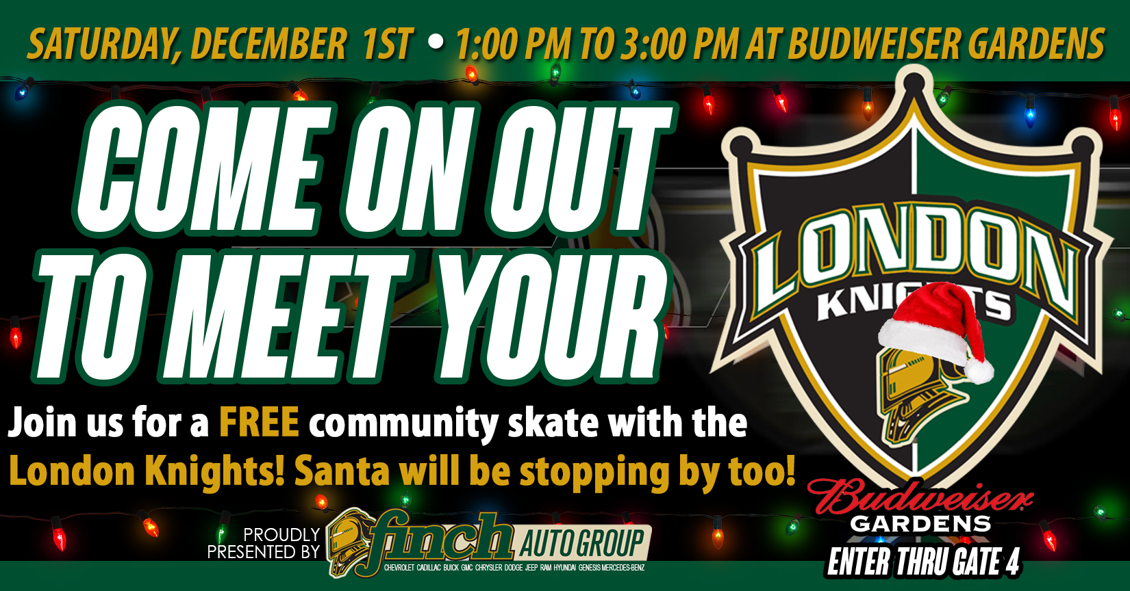 Join us for a FREE community skate with the London Knights + take pictures with Santa!