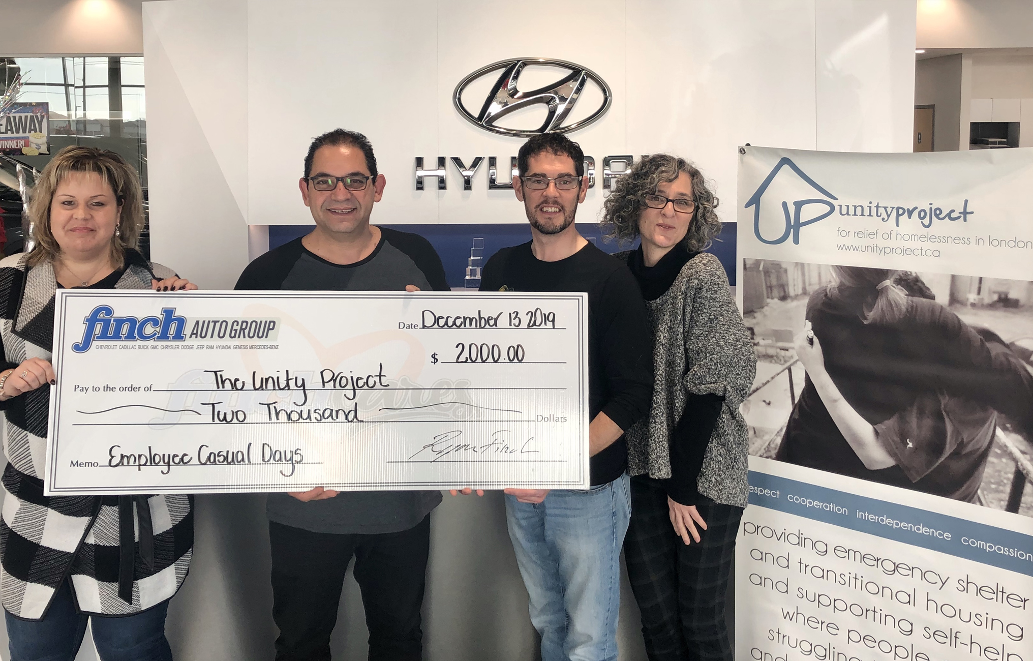 Cheque presentaion for The Unity Project